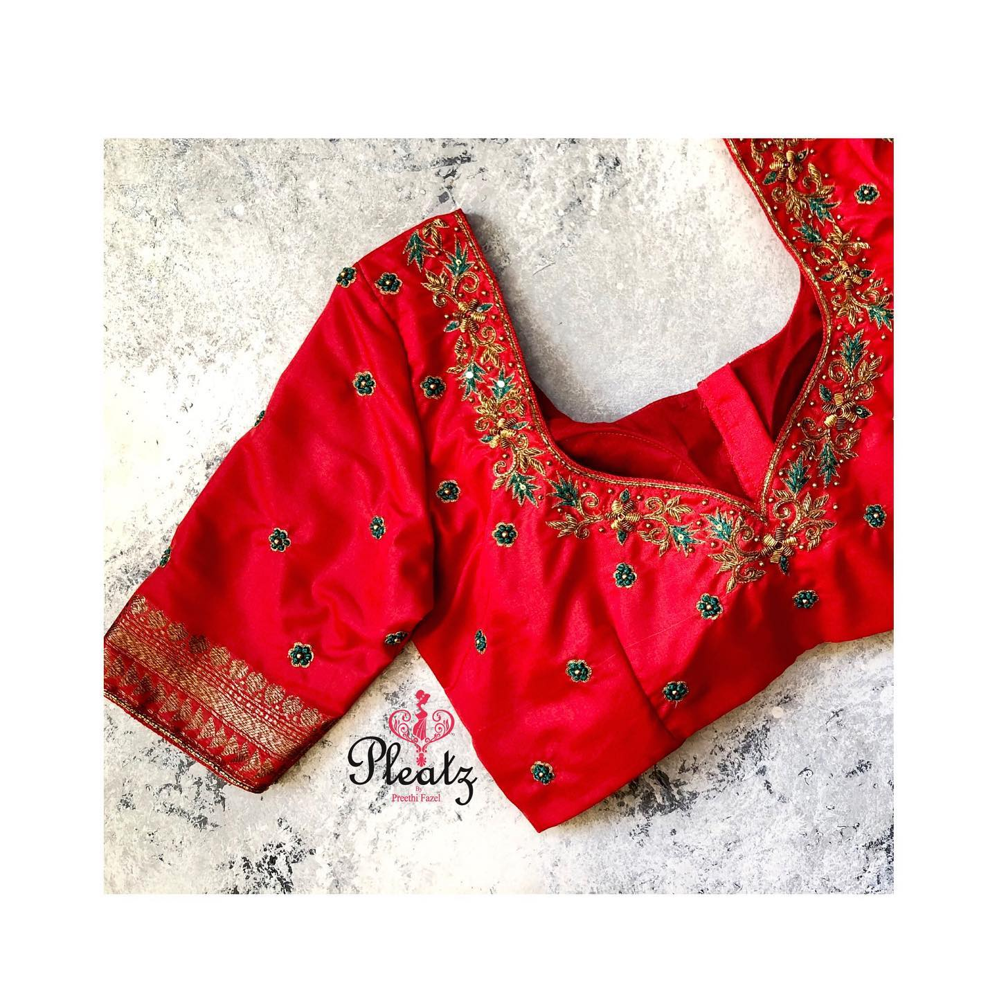 Hand crafted blouses customised at Pleatz. Classy designs to attend wedding parties and other Occasions. | saree blouse designs 2020 | new saree blouse design | maggam blouse designs | 2020-12-23