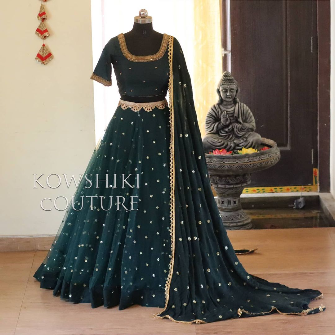 This half saree is available from house of Kowshiki Price : Rs 10000/-