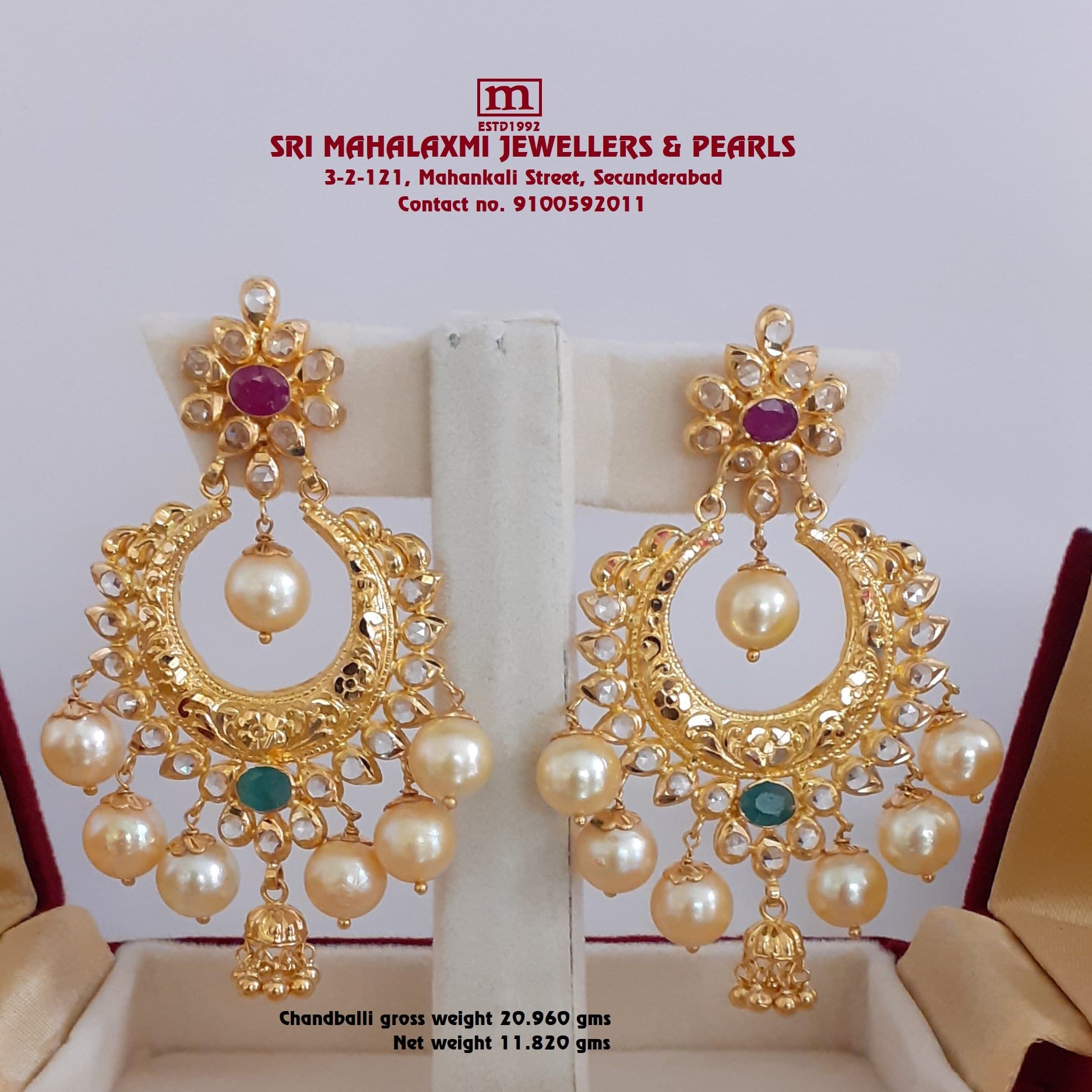 Presenting here is Light Weight Bridal Set`s Mango Long haram with matching Choker Necklace and Chandballi Earring Studded with Semi uncuts Stones  Ruby Emerald ans South Sea Pearls VISIT OUR SHOWROOM For Full Range of Collection Please call whatsapp       VIDEO CALL on no. 9100592011   .     2020-12-26