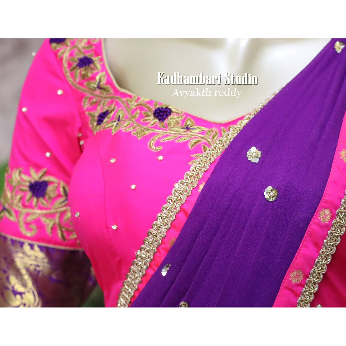 Gorgeous pink color pattu langa and purple voni with hand embroidery maggam work blouse.  2020-12-30