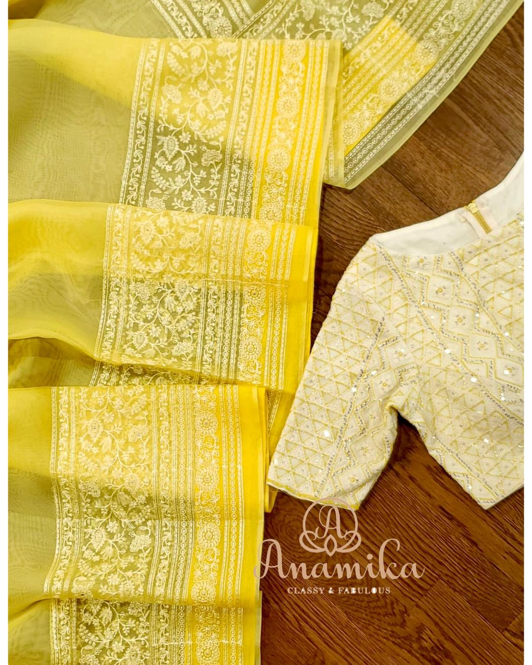 We simply can't be bored with yellow – and more when its an organza saree!!  Soft and flowy Organza silk saree with the prettiest embroidery border and pallu in a vibrant shade of yellow. awesome chikankari blouse has been highlighted with yellow to give that stunner look.  So light and so soft – you just cant get your eyes off it…  DM 360-545-3636 or 425-598-6797 for inquiries 2020-12-30