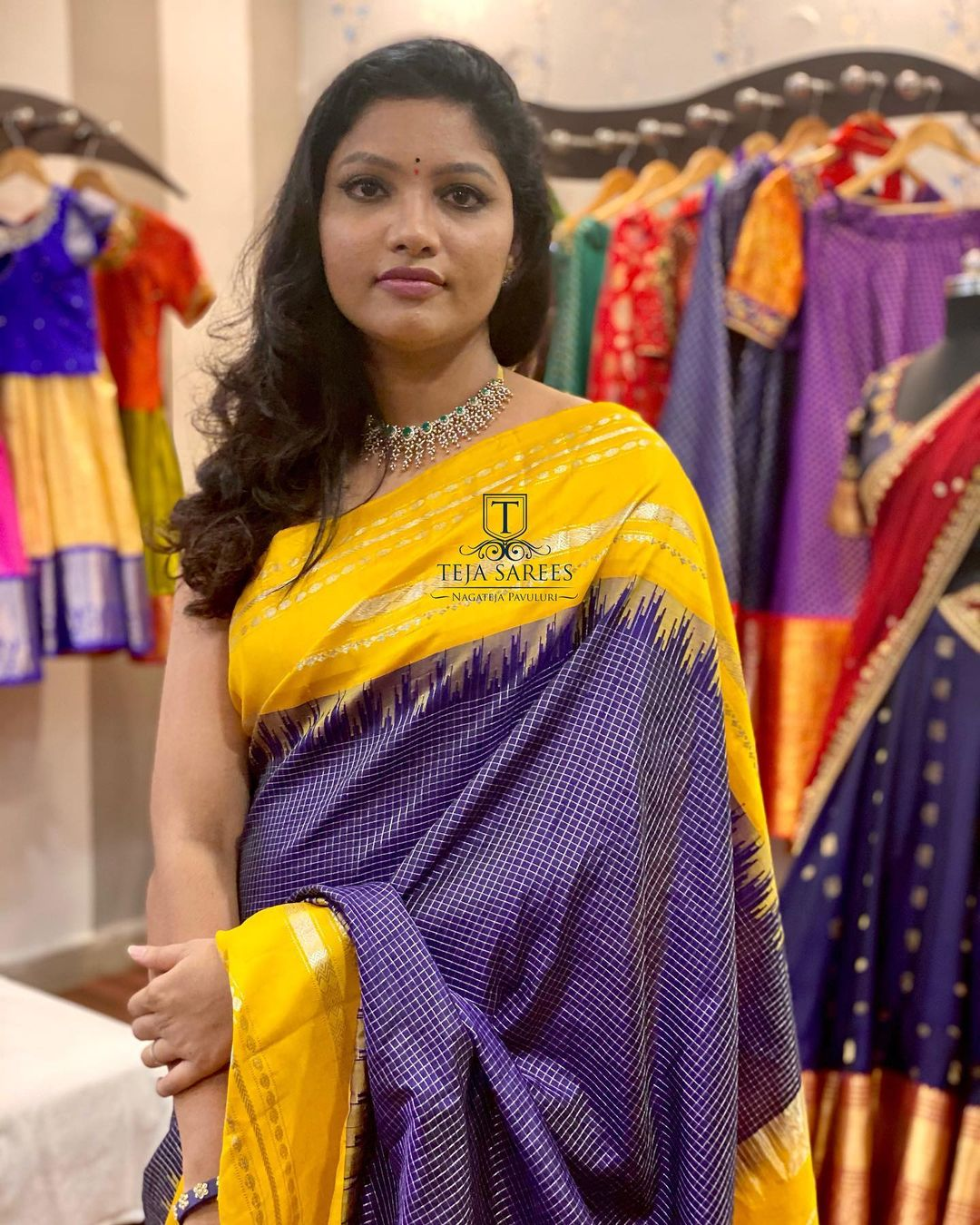 Beautiful designer Naga Teja in Gadwal pattu saree.