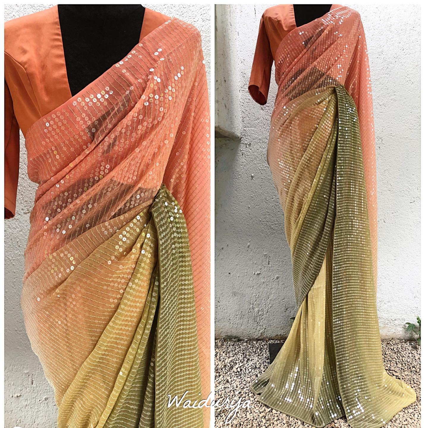 OH MY GOD! The PEACH TO PASTEL GREEN OMBREE sari is here and it's blowing our mind! FULLY SEQUIN EMBROIDERED on a pure georgette and is just magical. 2020-12-31