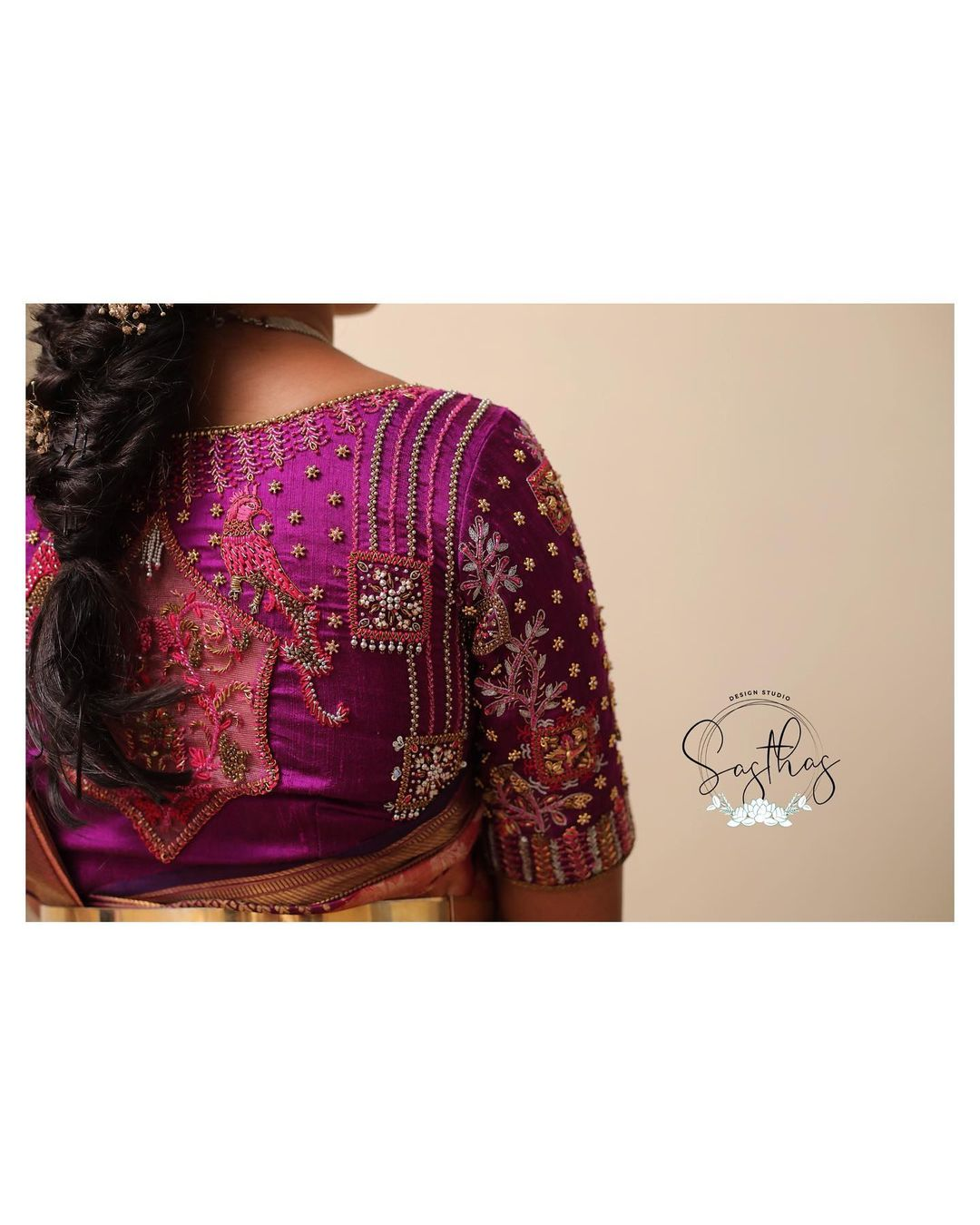 Stunning purple color designer blouse with floral maggam work blouse. 2020-12-31