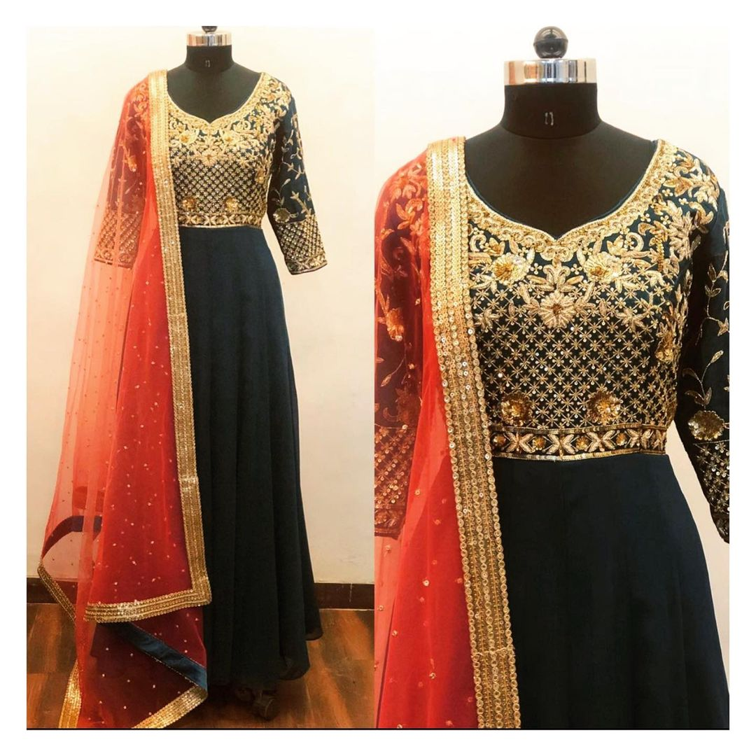 Hand embroidered bottle green georgette floor length anarkali. Can be customised in any color and size.  For enquiry/order shivani@intricado.com  or Whatsapp:- +91 8527463626 2020-12-31