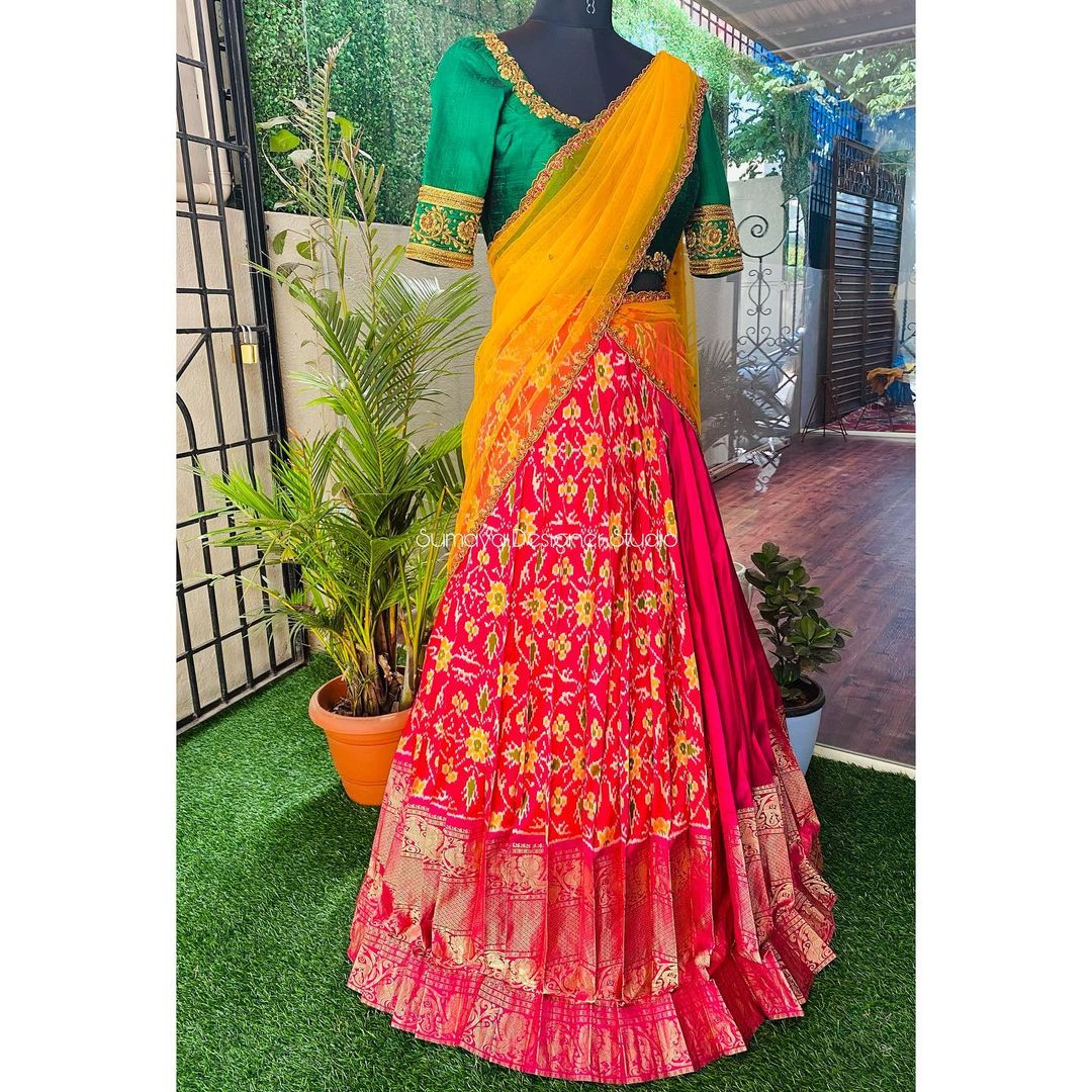 Classic ! Get a taste of the traditional look with a Half saree. Traditional look is the latest and all time favorite of women. . . Call  for more details