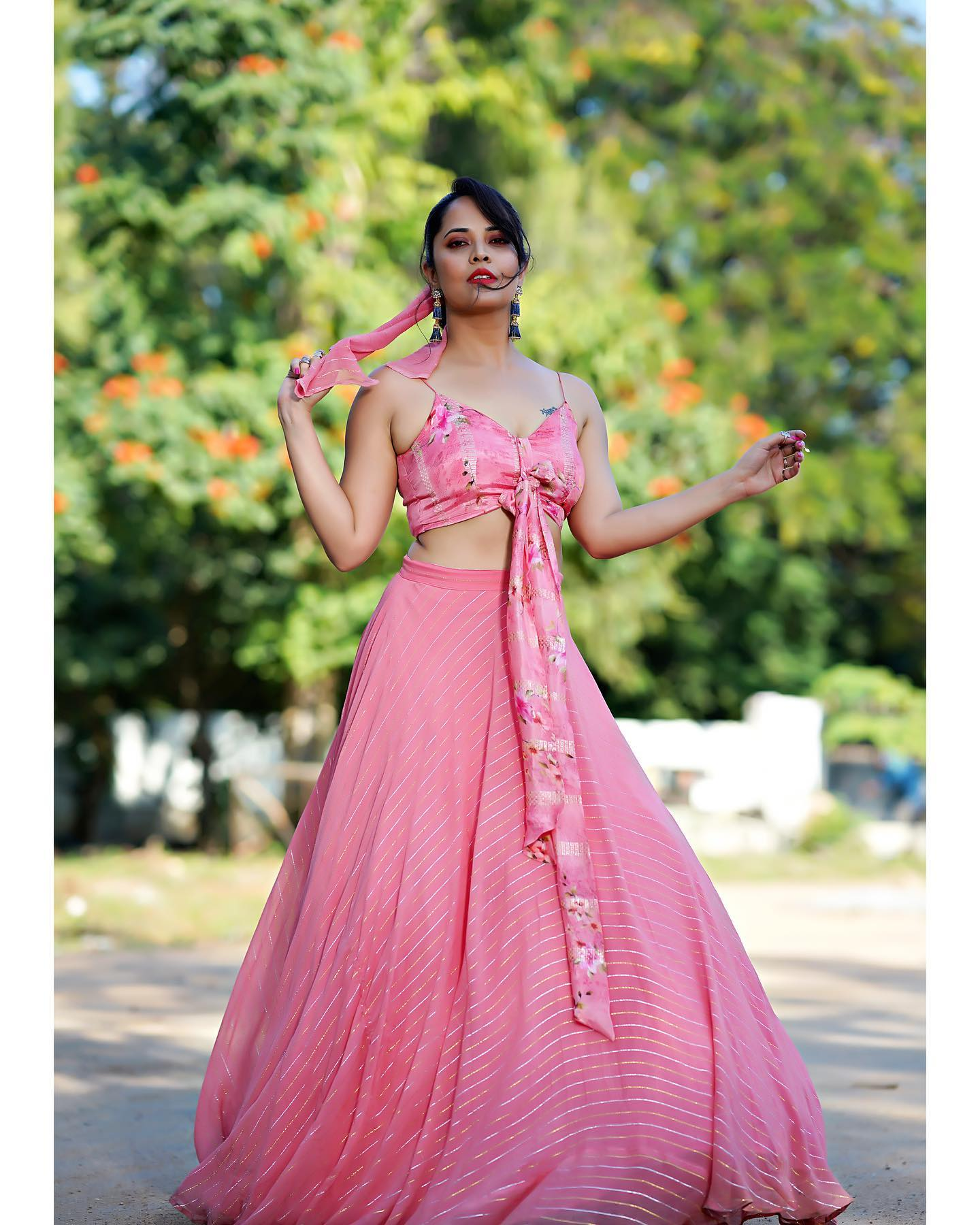 Beautiful actress and anchor Anasuya Bardwaj in pink lehenga and bustier for an event in Etv. 2021-01-01