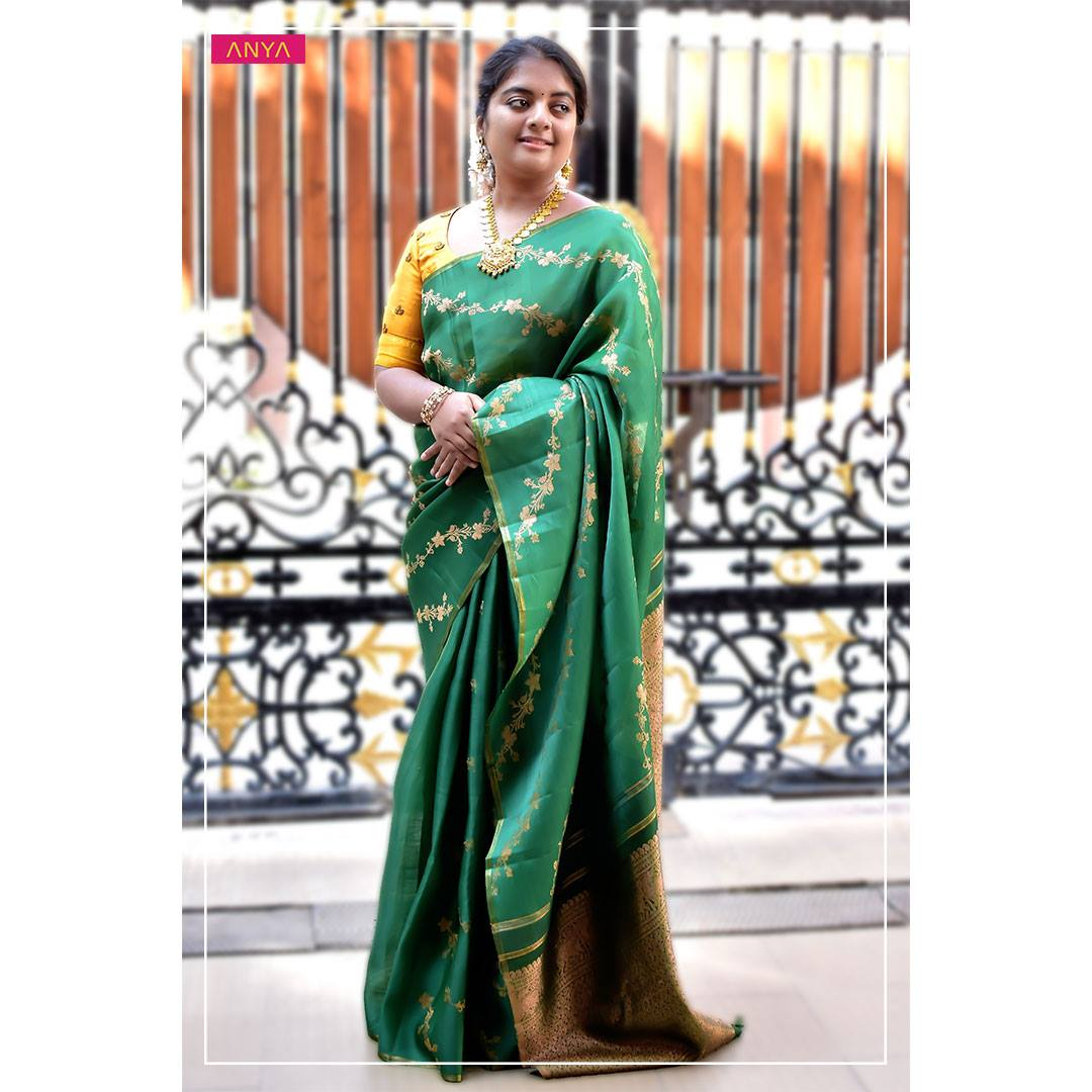 Designed with Organza Kanchi Silk this lovely saree is made with the finest colour tones and craftsmanship. 2021-01-01