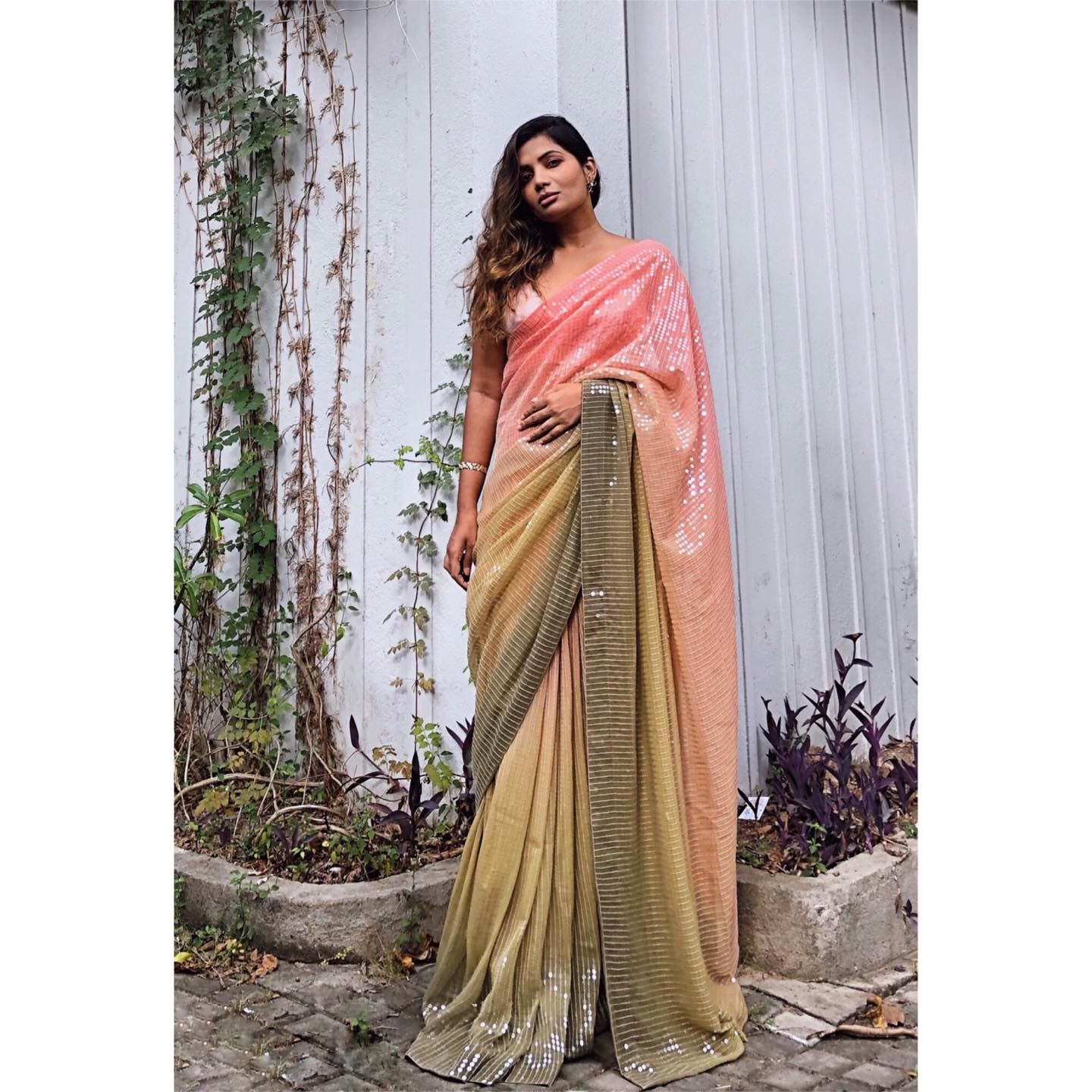 BLUSH PINK TO PASTEL GREEN OMBRE SEQUIN SARI! 2021-01-01