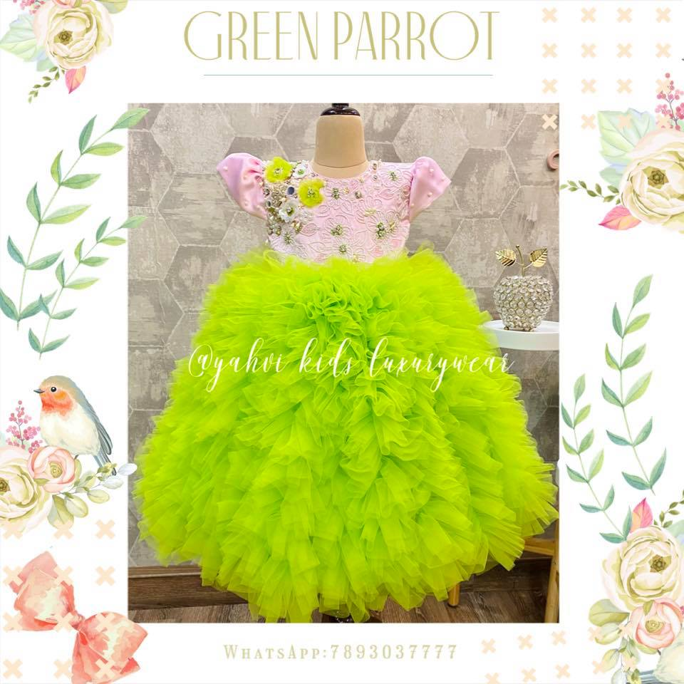 A parrot green frock crafted with perfection in detailed hand embroidery work is an absolute muse to our eyes to start this new year . For orders : whatsapp 7893037777. 2021-01-02
