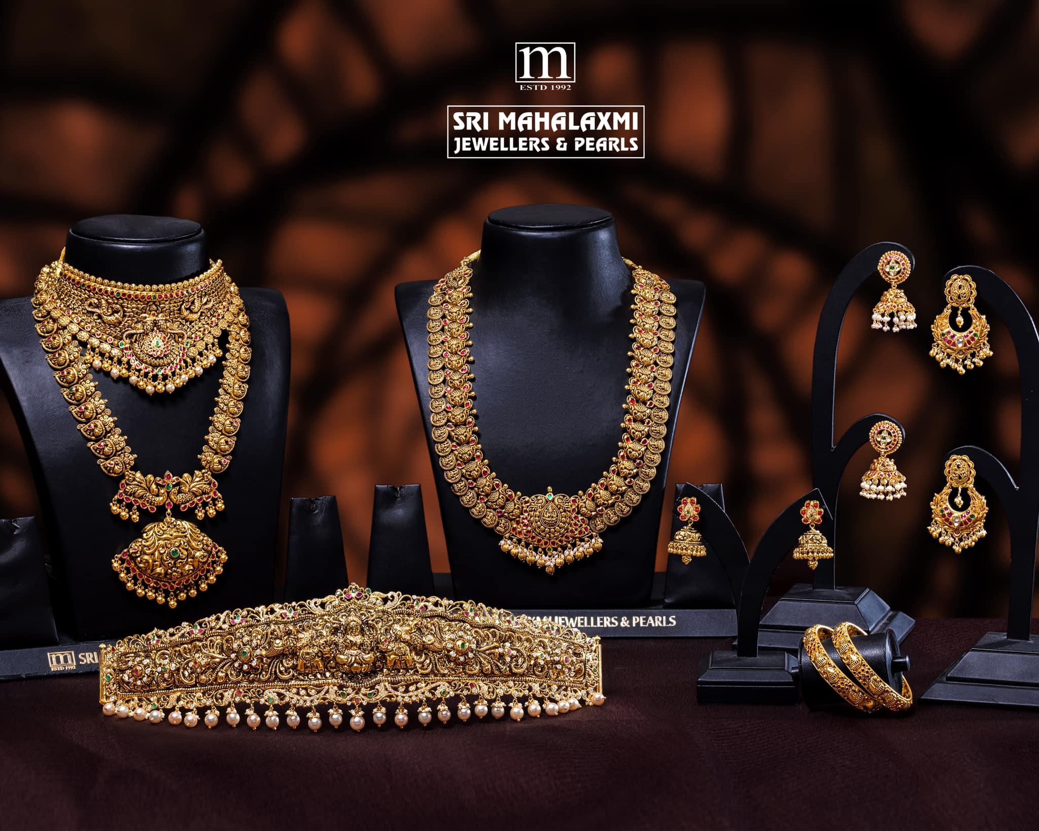 Beautiful 22k gold bridal set from Sri Mahalaxmi Jewellers  Pearls. 2021-01-04