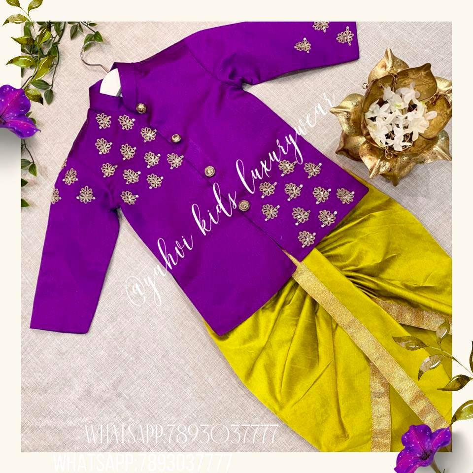 """Soft hues for boys -check YAHVI series of """" soft punch""""  collection which are delicately handcrafted . For orders :  whatsapp 7893037777 2021-01-04"""
