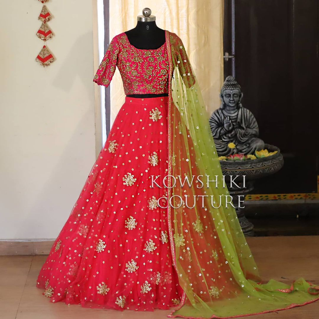 This half saree is available from house of Kowshiki Price : Rs 11000/- 2021-01-05