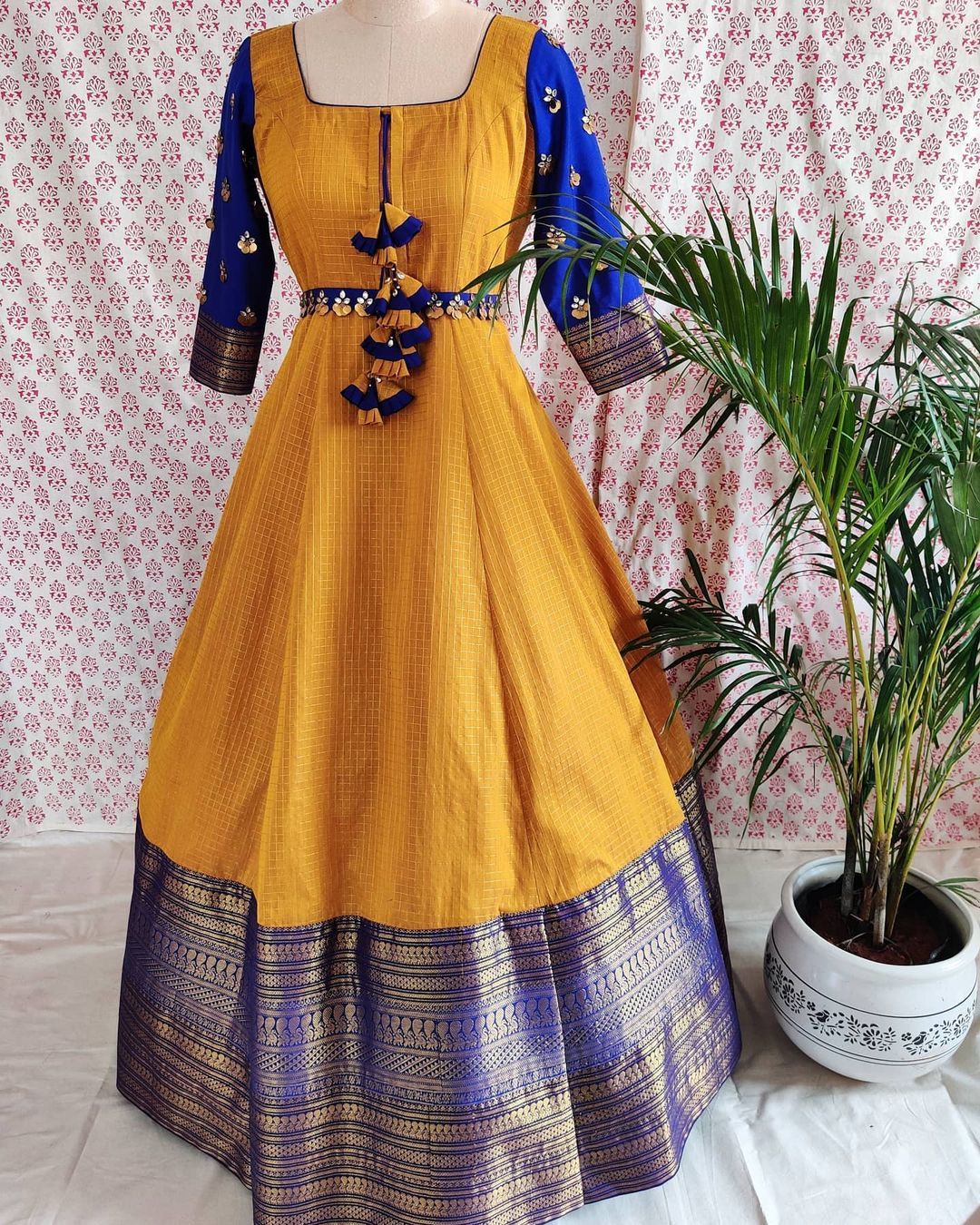 Classic old school colour combinations - an ideal choice for festivity. Stunning mustard and blue color combination pattu long frock. 2021-01-06