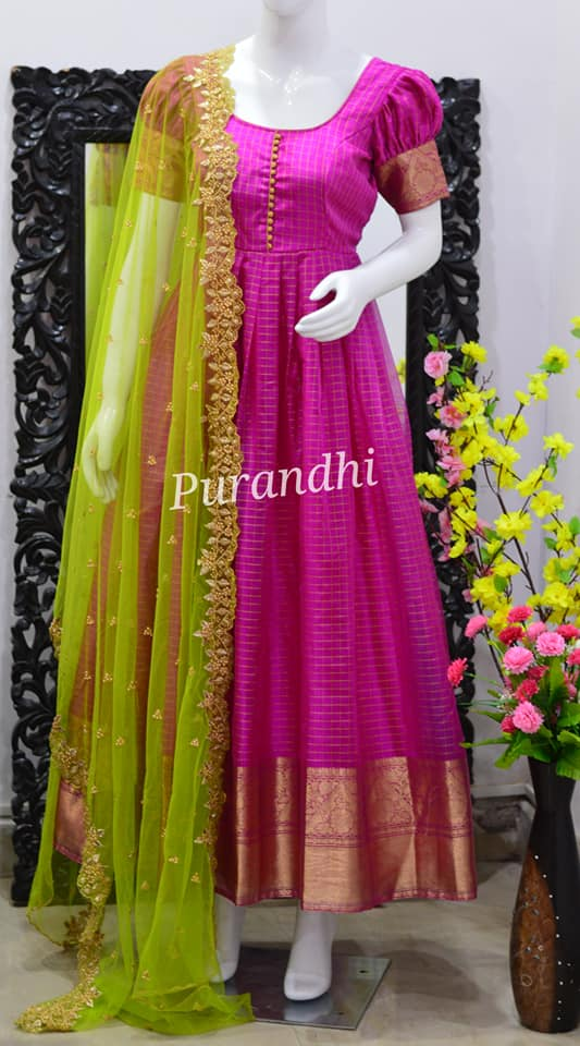 Beautiful pink color pattu long frock with net dupatta. Floor length dress with puff sleeves. 2021-01-08