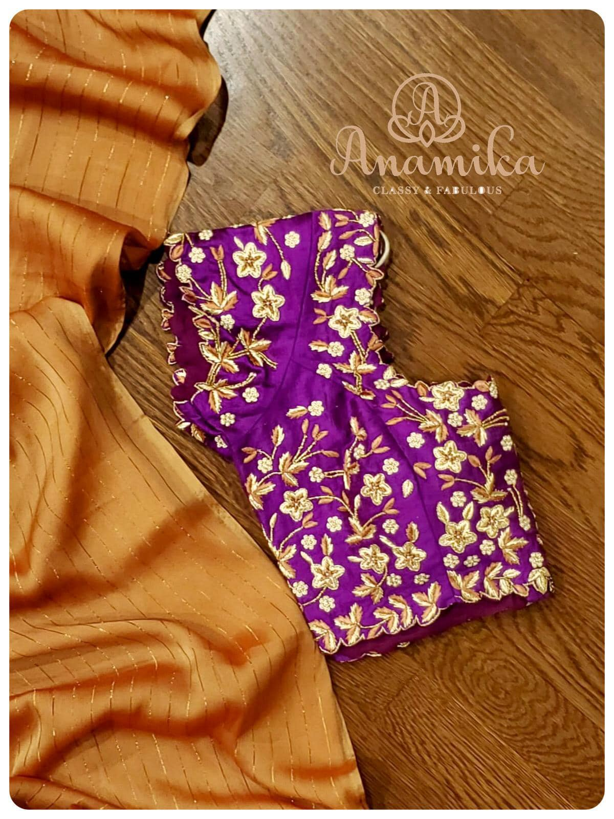 Want to try something unique ? Checkout this very attractive  unique and stylish crepe georgette saree paired with a purple  raw silk maggam work blouse! DM 425-598-6797 or 360-545-3636 for enquiries 2021-01-08