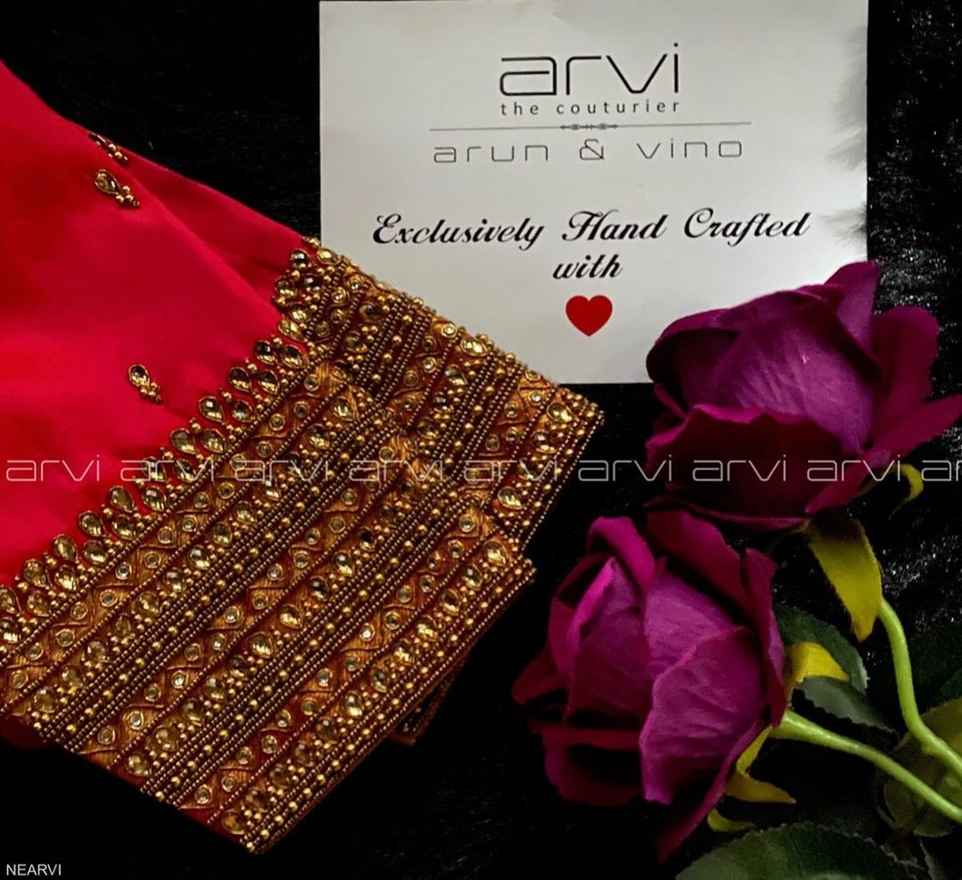 Stunning bridal blouse with bead and kundan aari work on neckline and sleeves. 2021-01-08