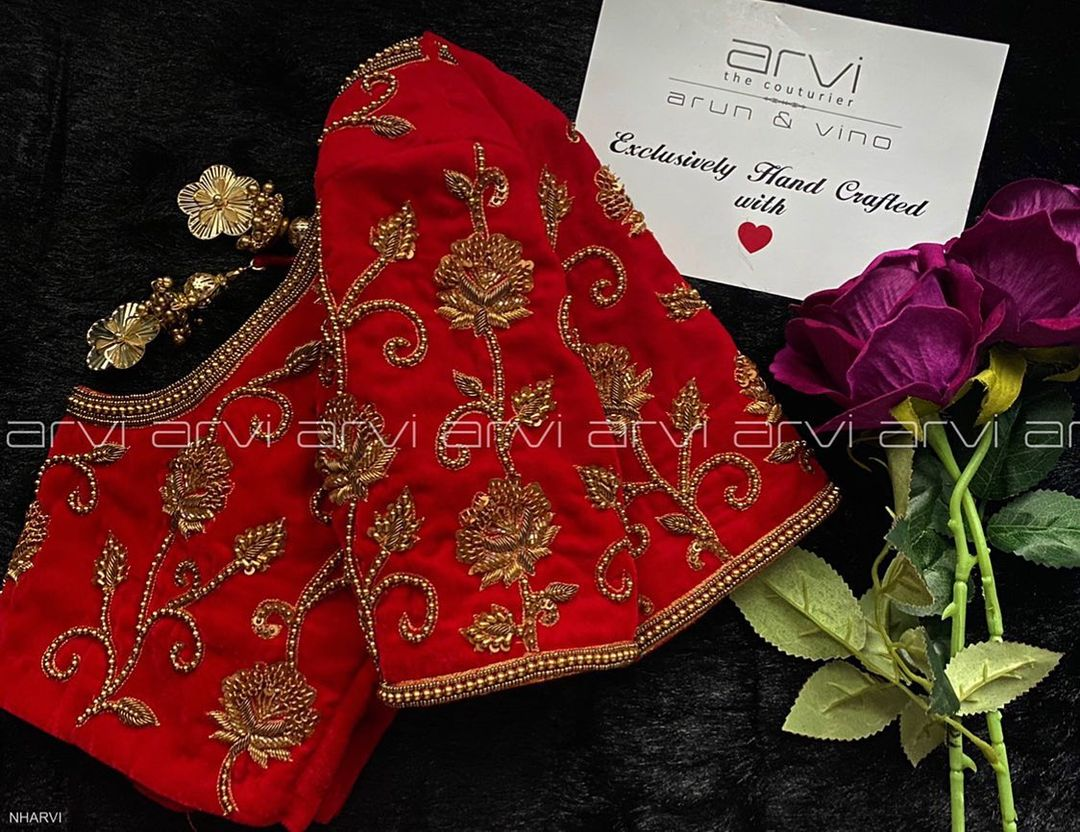 Gorgeous red color bridal designer blouse with floral creeper design hand embroidery zardosi work allover.   2021-01-08