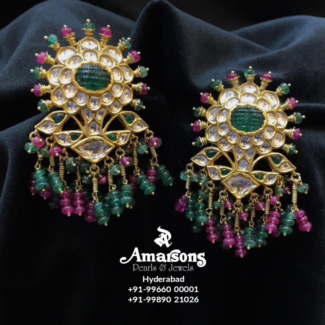 Gold Kundan Polki Ruby Emerald Hanging from Amarsons jewellery. ⠀⠀.⠀⠀⠀⠀⠀⠀⠀⠀⠀⠀⠀⠀⠀⠀⠀ 2021-01-09