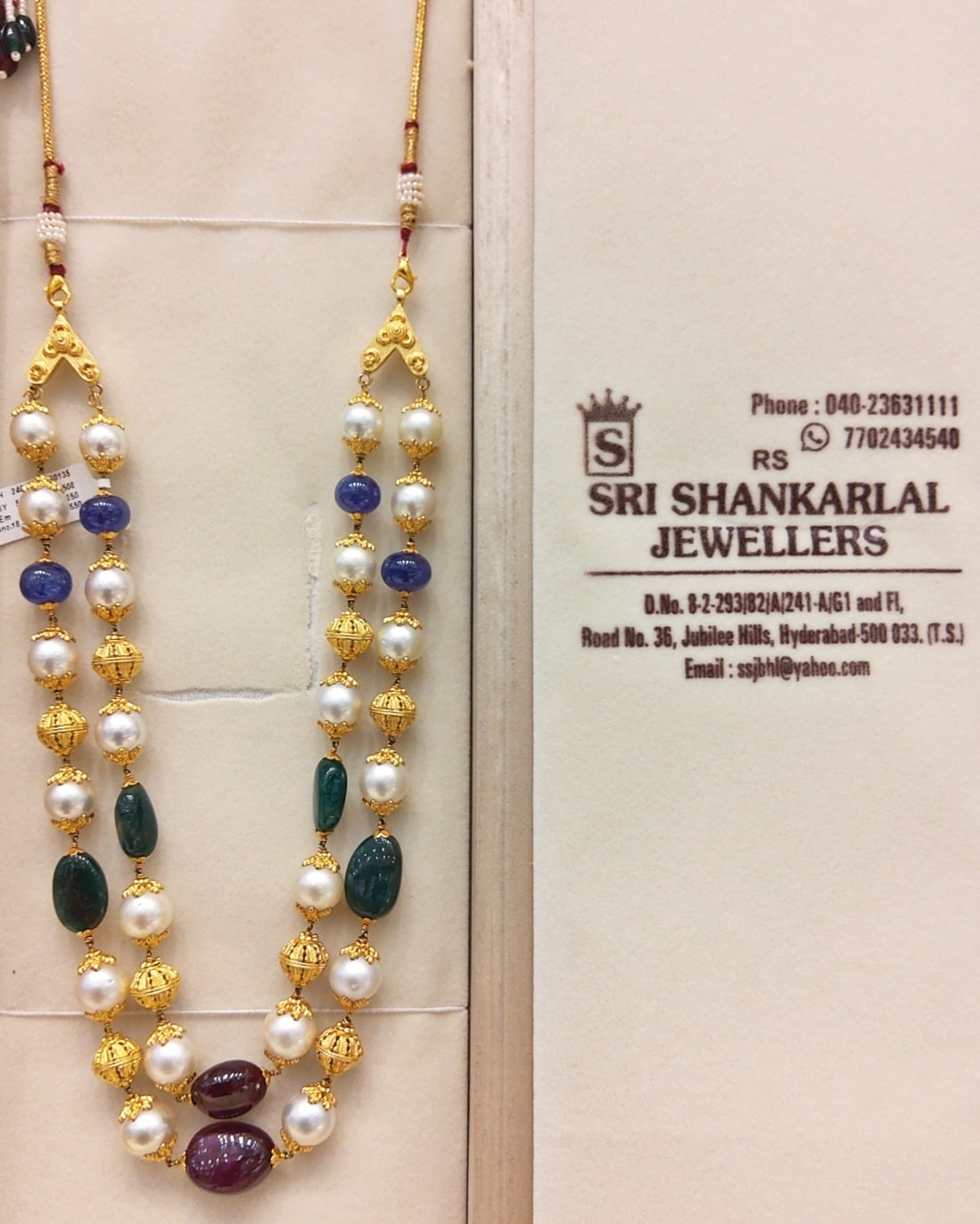 Evergreen natural Ruby/Emerald/South sea pearl long haaram.