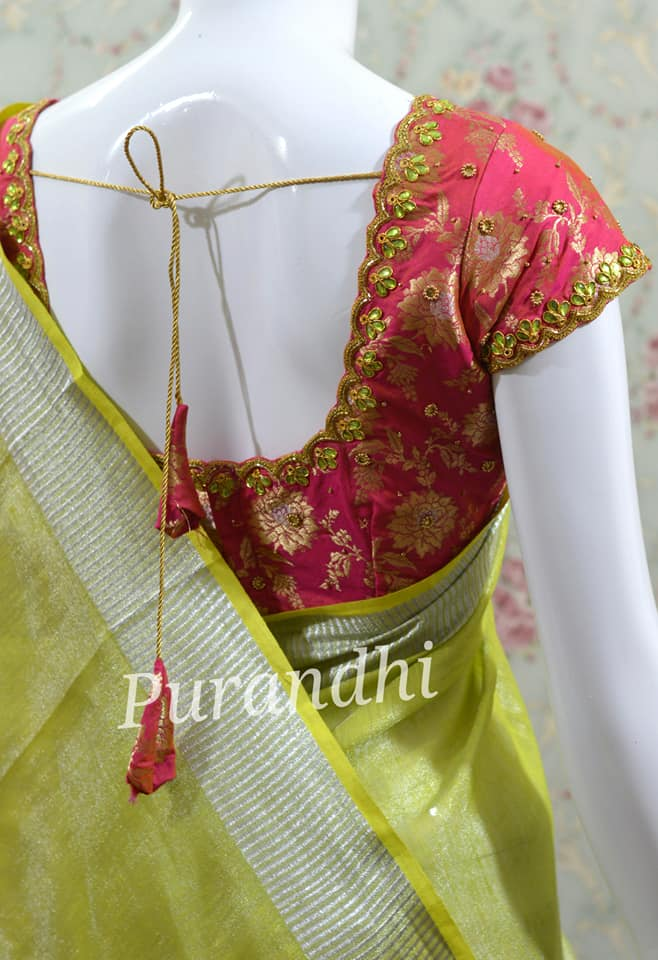 Linen tissue saree paired up with pure banarasi maggam work blouse. To order contact  on WhatsApp : 9701673187 or email  at purandhistore@gmail.com 2021-01-11