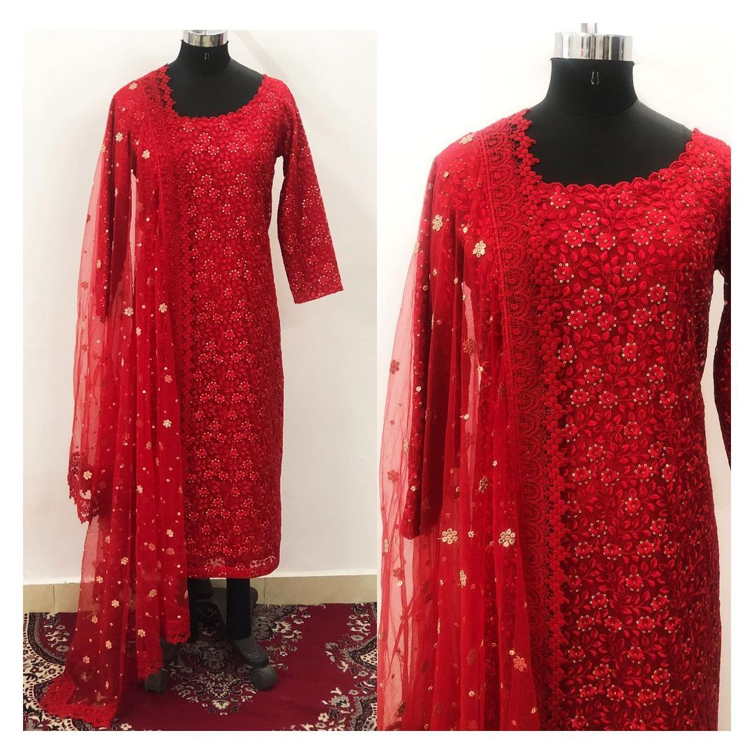 Customised this stunning embroidered red suit.  To order/enquiry email at shivani@intricado.com  or Whatsapp at +918527463626 2021-01-12