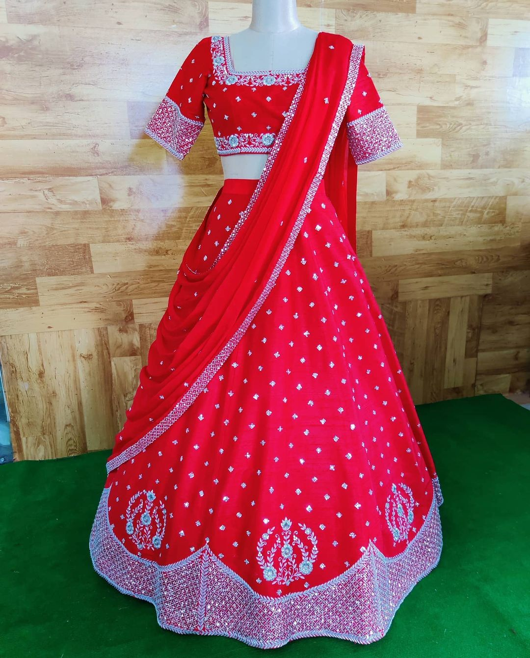 Gorgeous red color bridal lehenga and blouse with dupatta. Lehenga and blouse with hand embroidery crystal work.  2021-01-13