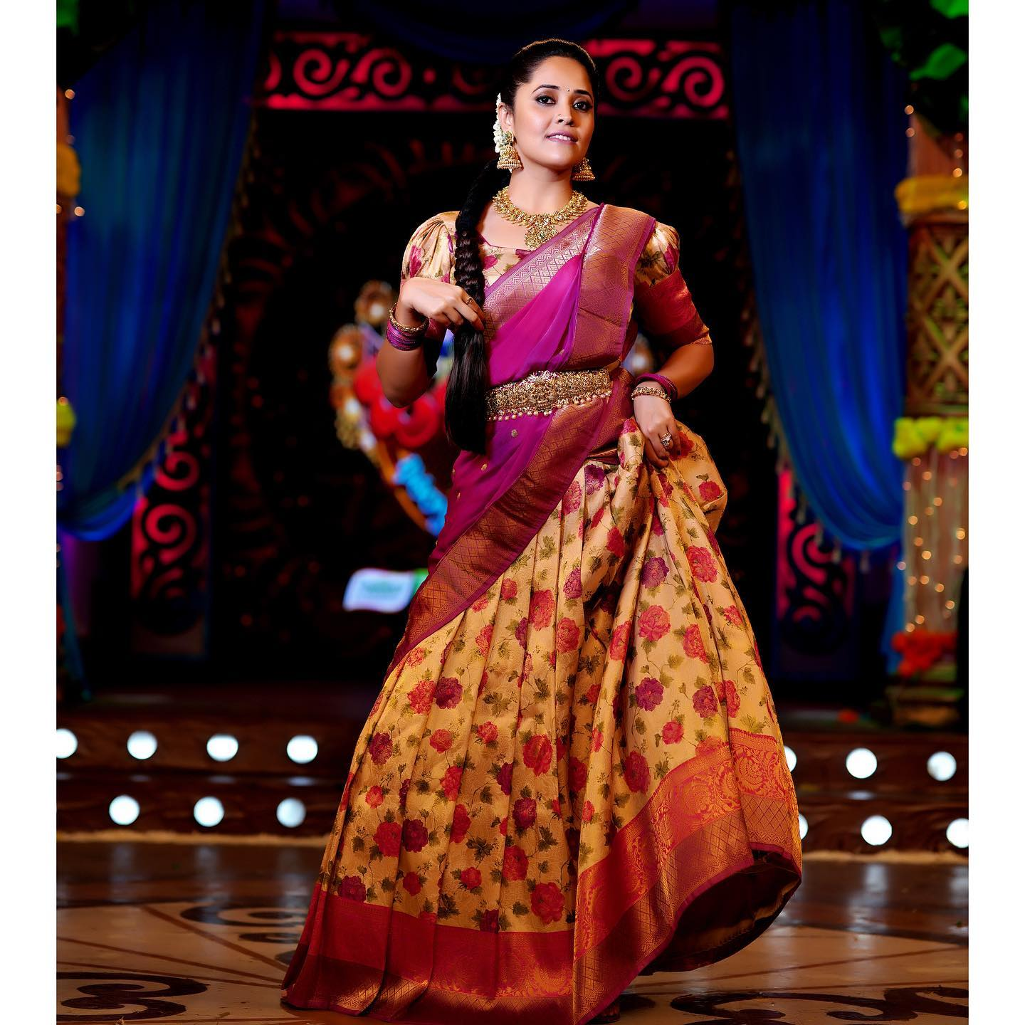 Stunning off white color floral lehenga and blouse with pattu dupatta. Blouse with puff sleeves. 2021-01-15