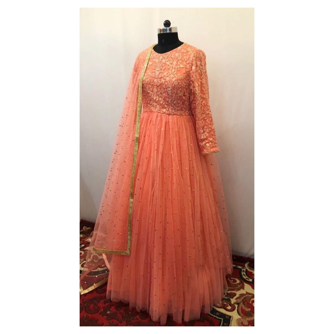 Peach mukaish and thread work layered anarkali. Can be made in any color and size. 2021-01-15