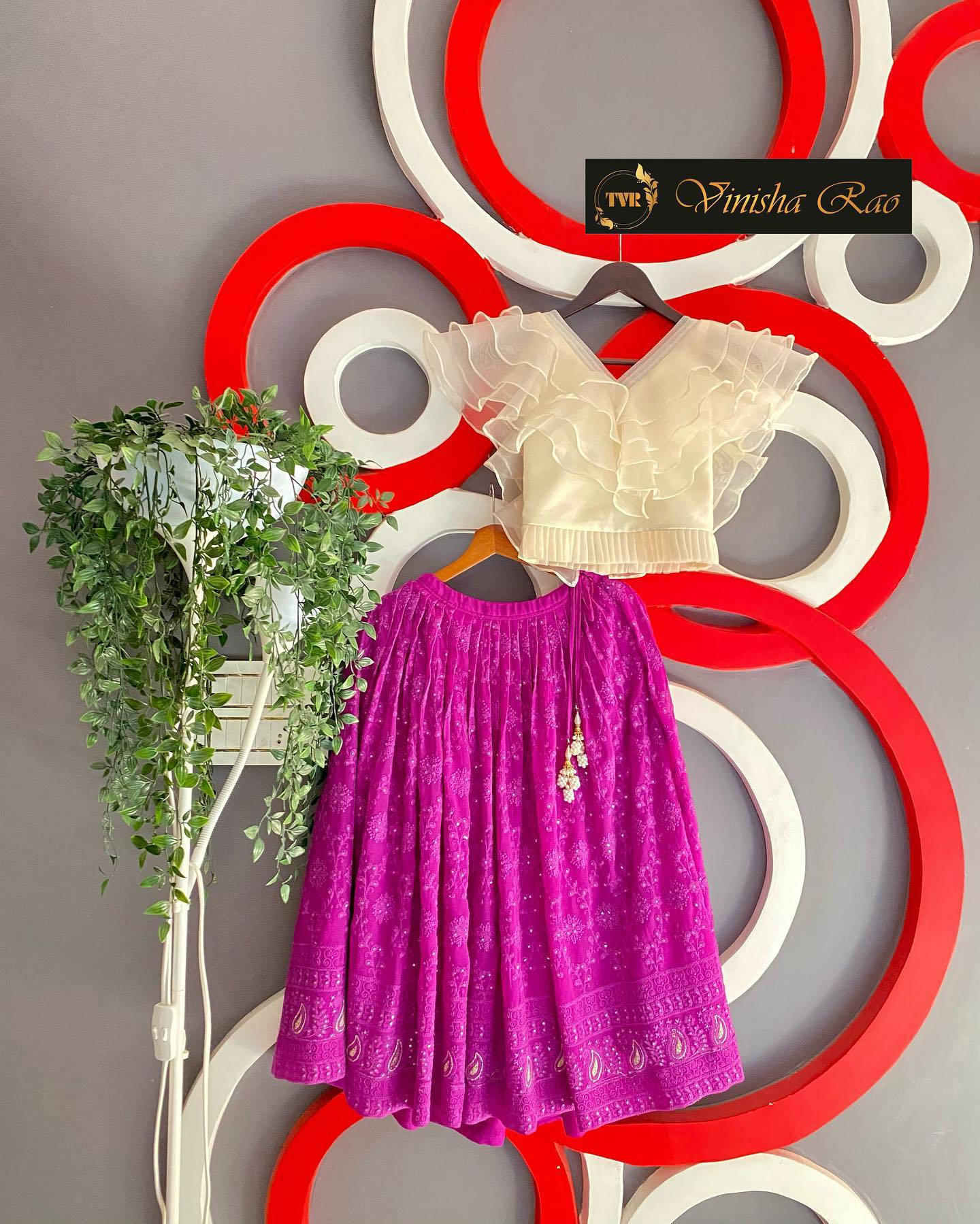 Chikankari purple lehenga with a ruffles organza blouse for girls from the house of Vinisha rao designer studio !! Suitable for all kind of occasions !! .. . You can call  to order on