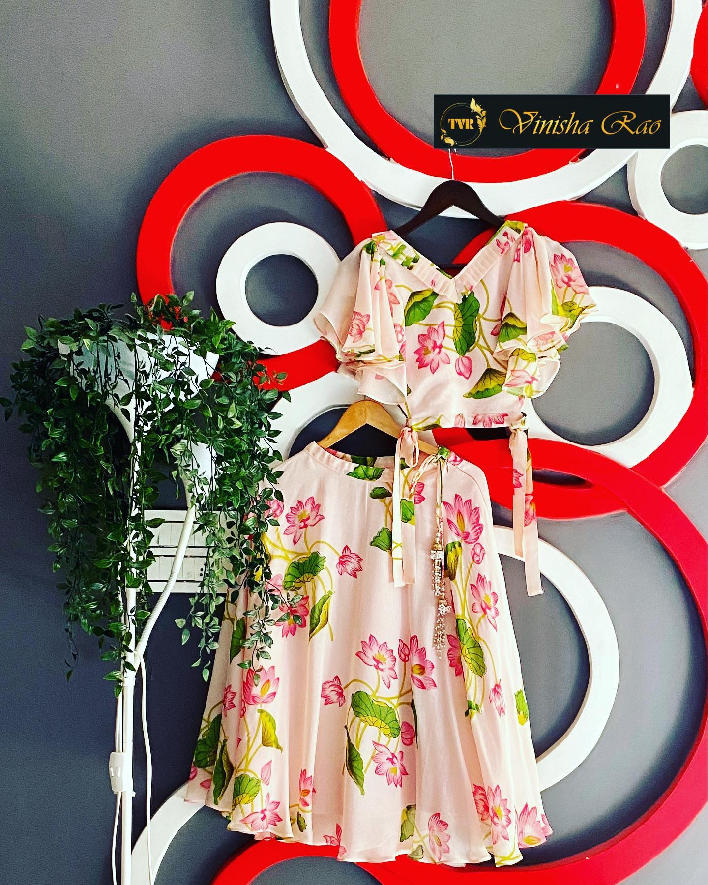 Peach Floral lehenga with a sleeveless side knots blouse for girls from the house of Vinisha rao designer studio !! Suitable for all kind of occasions !! .. . You can call  to order on