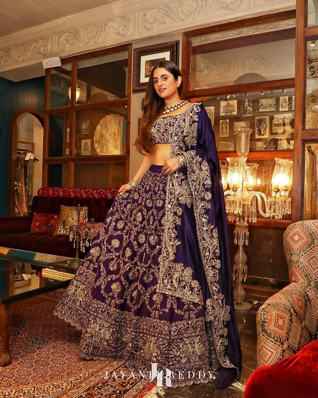 Traditional weaves for contemporary storytelling portrayed by Shereen love bug in Jayanti Reddy royal purple embroidered lehenga set. 2021-01-19