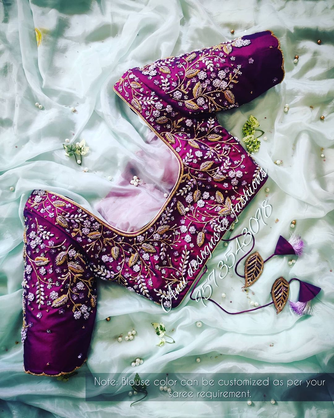 Gorgeous purple color designer blouse with floret lata design 3D hand embroidery maggam work.  2021-01-19
