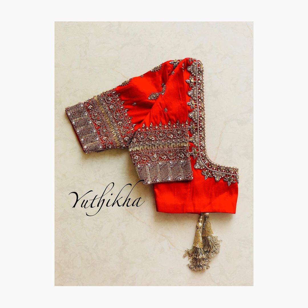Bespoke embroidery blouse from the house of yuthikha designer studio !!! For appointments contact 9894231384 . - Not for sale !! 2021-01-19