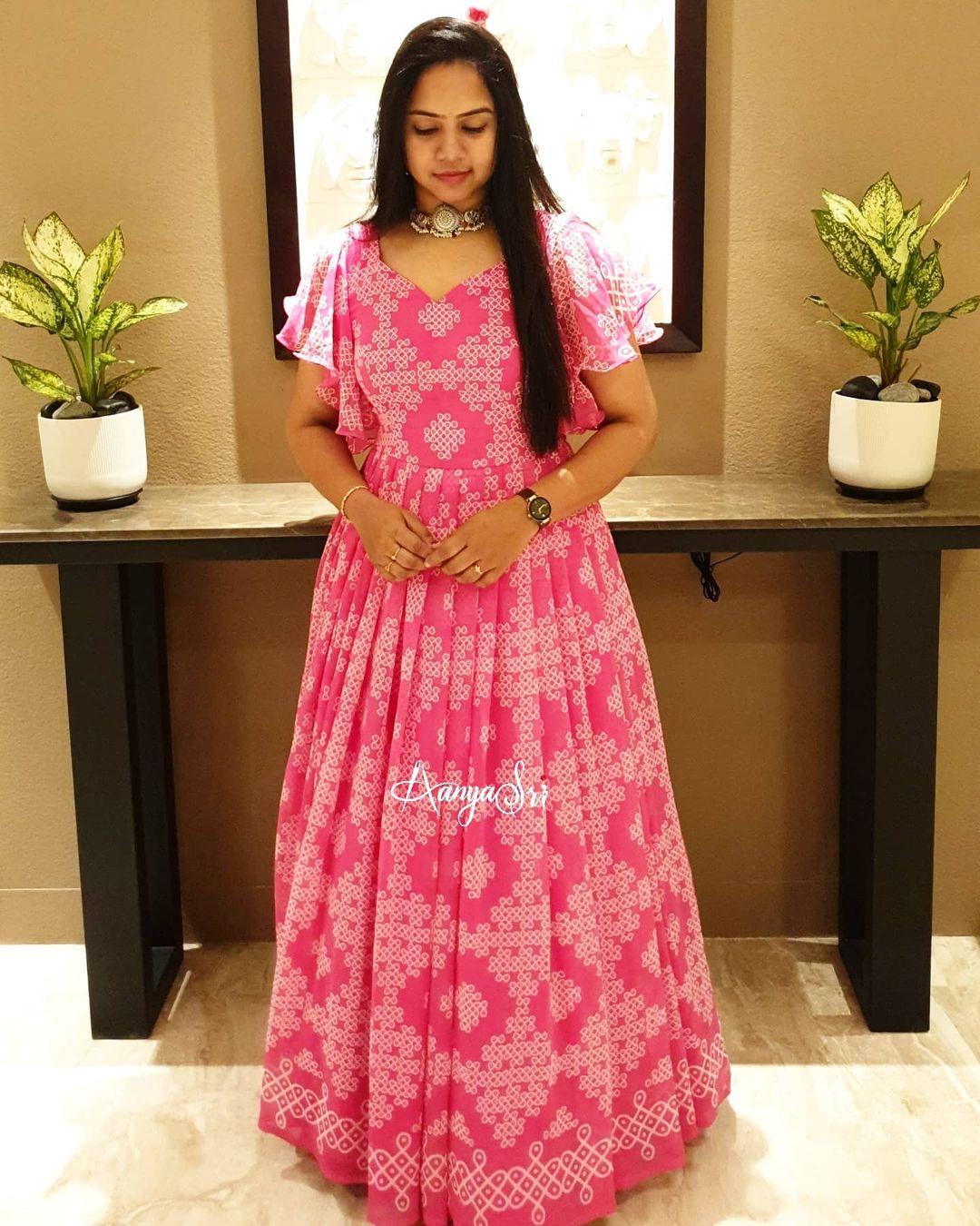 Pink Muggu. Gorgeous blush pink color floor length dress with muggu design. Dress with ruffle sleeves. 2021-01-19