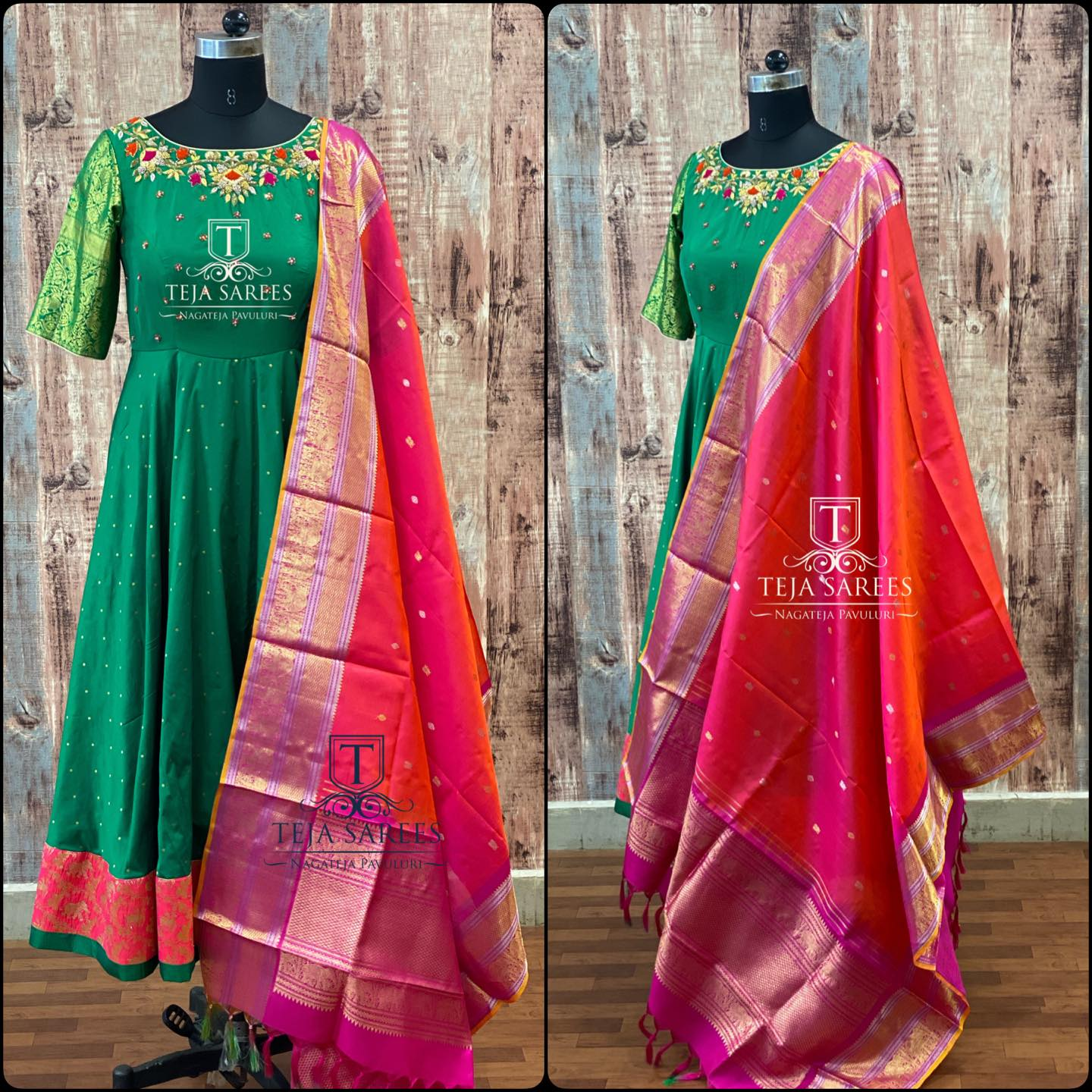 TS-DS- 706. Available. Beautiful green color floor length anarkali dress with kanchi pattu dupatta. Anarkali dress with hand embroidery work on yoke.  For orders/queries Call/ what's app  on 8341382382 or Mail  tejasarees@yahoo.com. 2021-01-20