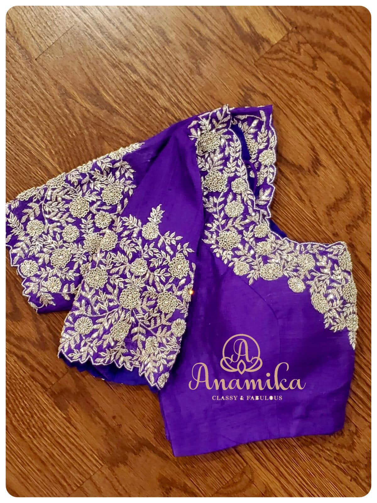 You will simply fall in love . with this beautiful blouse !  A lovely shade of purple blouse with intricately designed silver zardosi work - just a right choice for your fancy or traditional sarees ! Can be customized in any color of your choice.  DM 360-545-3636 or 425-598-6797 for enquiries! 2021-01-22