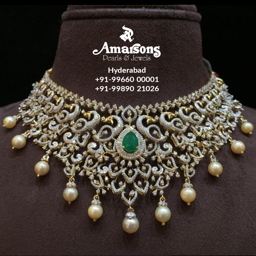 Peacock Design Diamond Necklace Embedded with Emerald  from Amarsons jewellery. 2021-01-22