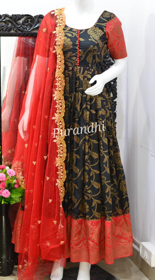 Gorgeous deep blue and red color combination pattu long frock with net dupatta. 2021-01-22