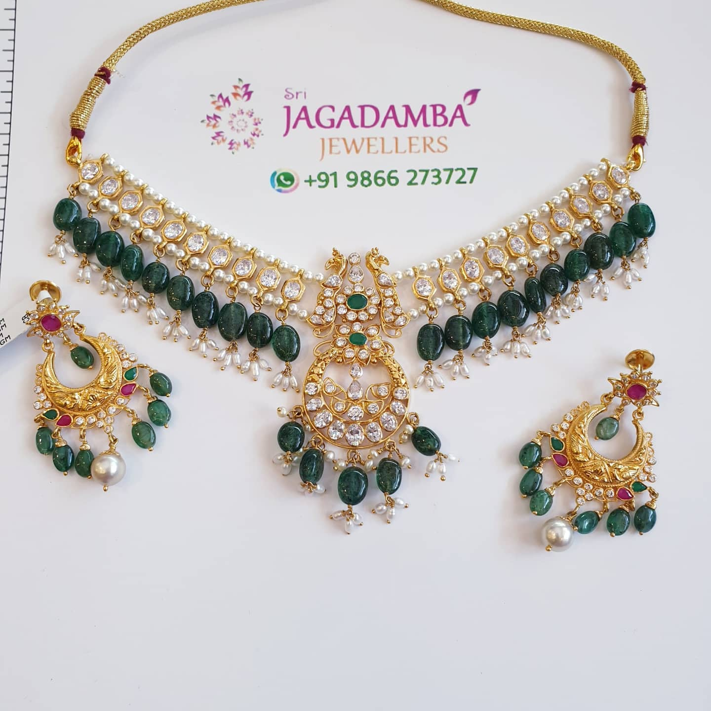Peacock drop necklace set Neck net 25gm Tops net 11.5gm For details to buy Whatsapp +919866273727 2021-01-23