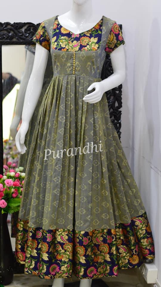 Beautiful floral design pattu long frock from Purandhi Designer Collections. 2021-01-23