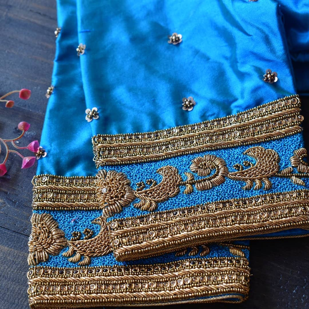 Classic Jattai floral embroidered on silk. 2021-01-24