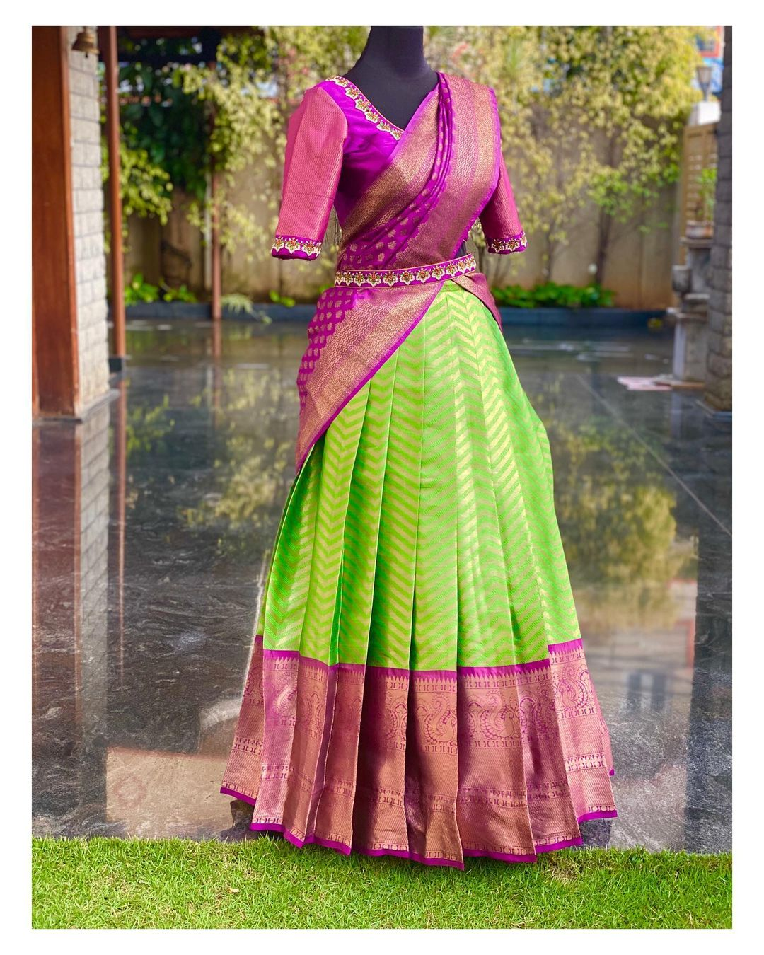 Simple yet trendy half saree designs for small intimate ceremonies  Stunning parrot green and purple color combination pattu halfsaree. call/whatsapp  on 8951239449 2021-01-24