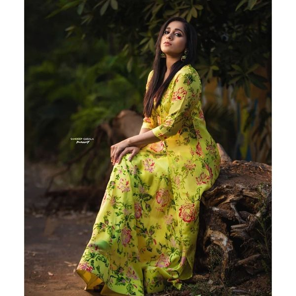 Beautiful anchor Rashmi Gautham in green floral dress. Outfit by Varahi couture.  2021-01-26