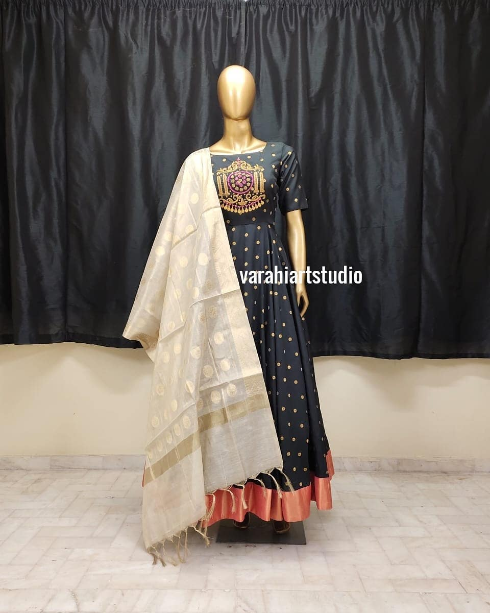 Stunning black color pattu long frock with hand embroidery work on yoke. Long frock with pattu dupatta.  2021-01-26