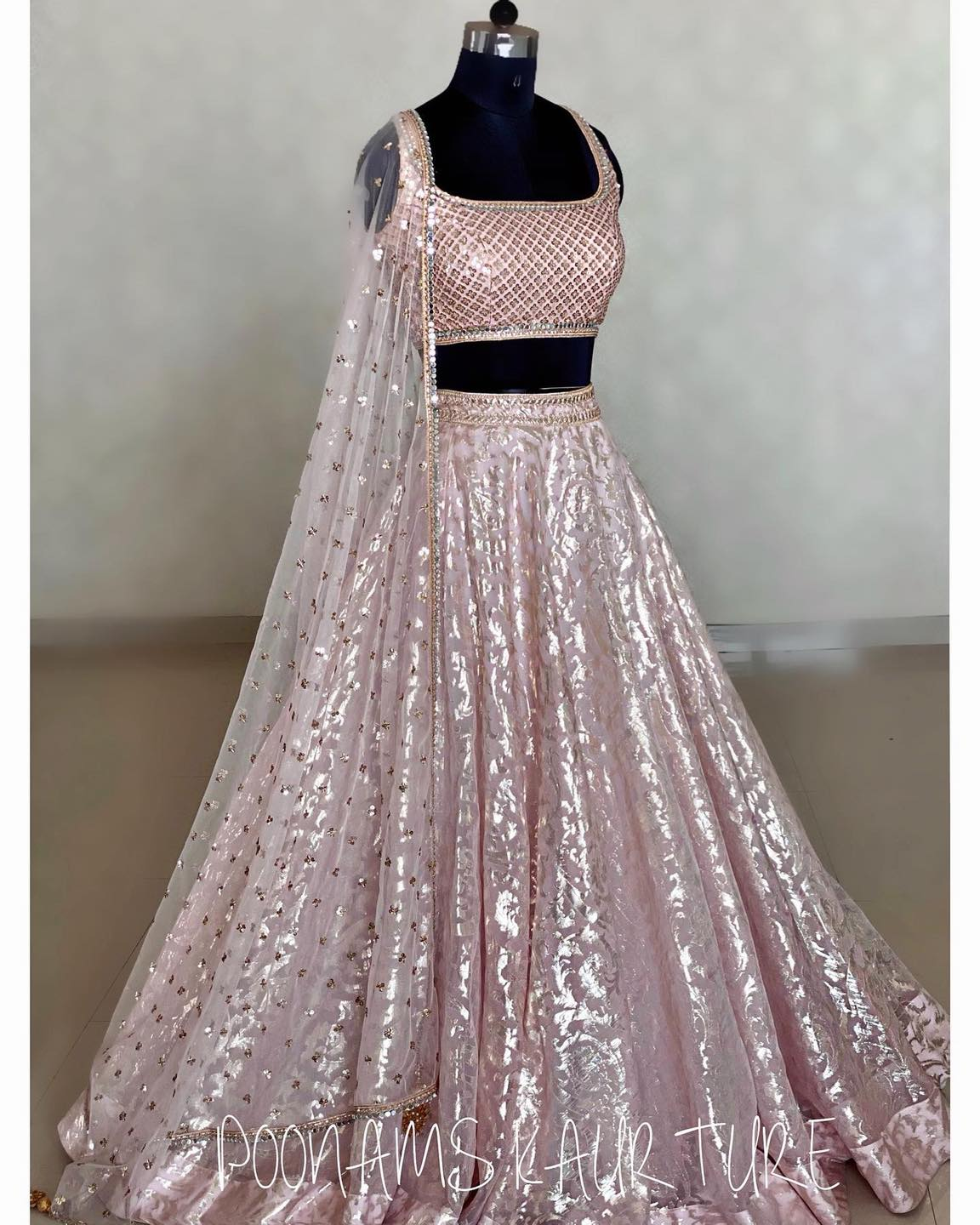 MAGNOLIA  Outfit details - Blouse . heavy sequins on georgette  Lehnga . soft champagne foiled organza  Duppatta . soft net sequins  This piece can be customized in any pastel shade.   2021-01-27