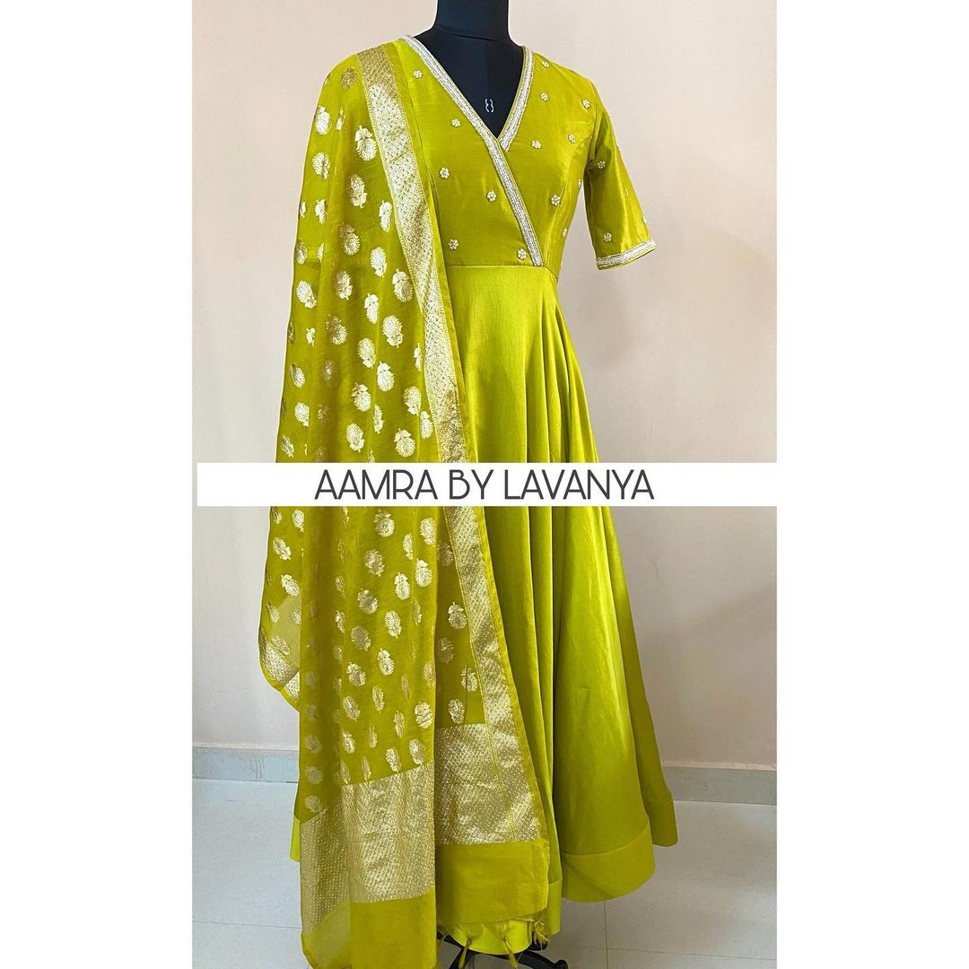 ~NEW ARRIVALS~ Series: INDIAN TEXTILES Olive mint anarkali with hand embroidered pearl and bead work all over yolk and sleeves paired with self color dupatta. 2021-01-27