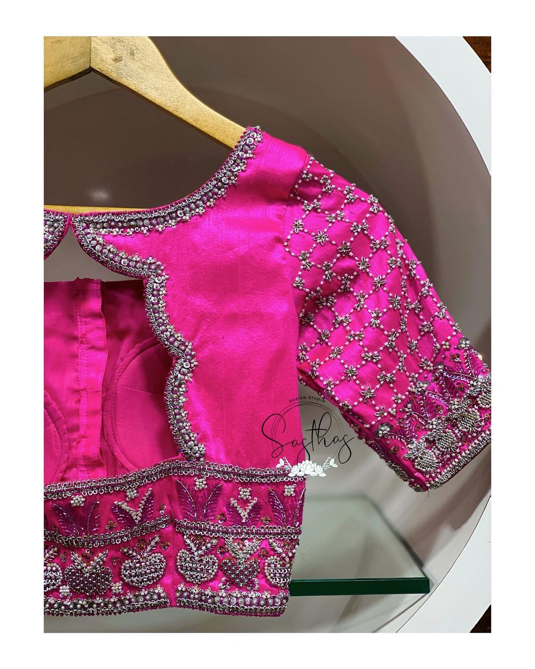 Silver is always love . Gorgeous pink color designer blouse with silver thread aari work. For bridal appointments contact 9894580666 !! 2021-01-28