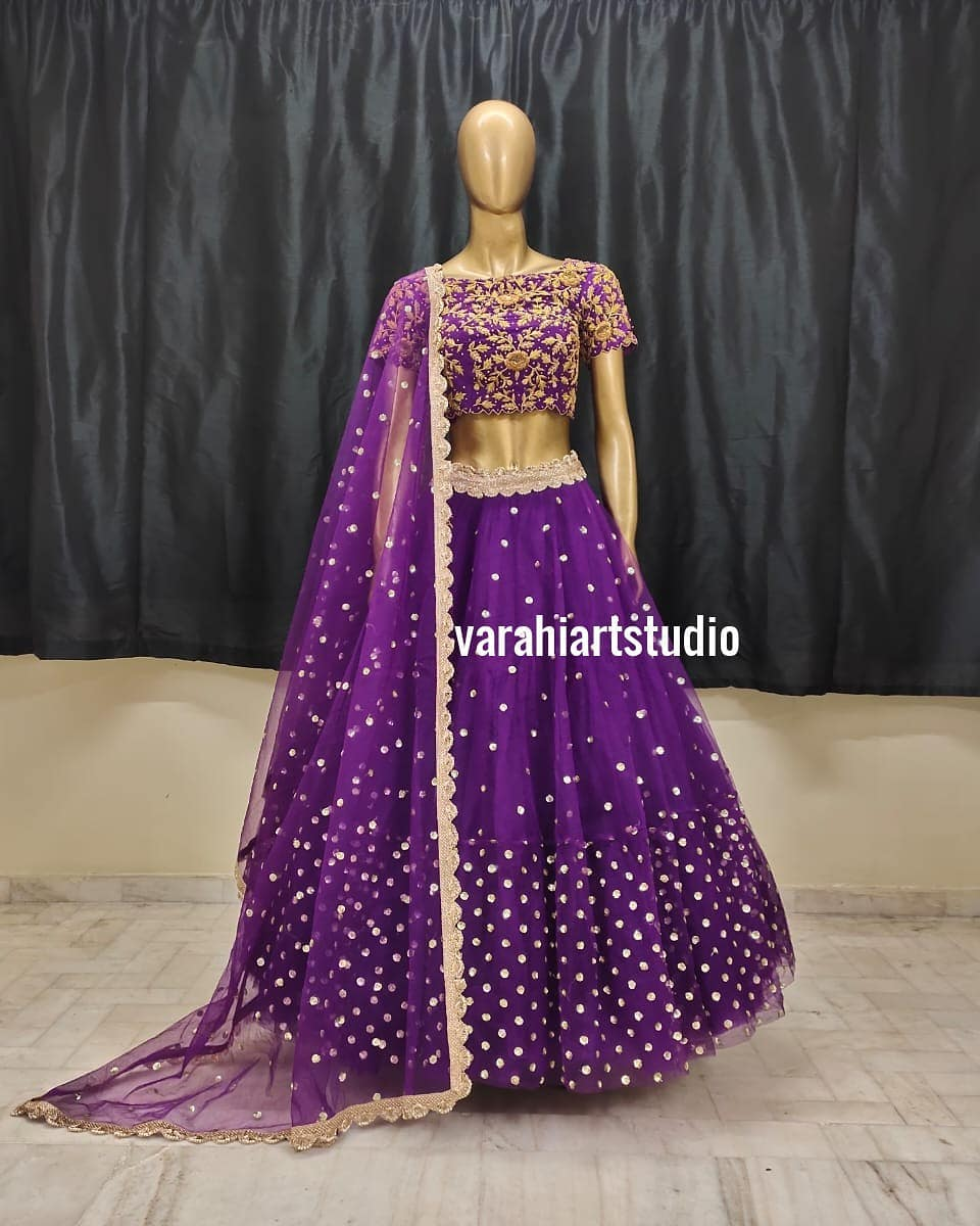 Purple color Handcrafted Bridal Lehenghas Available from Varahiartstudio .. They can customise the size as per your Measurements .. .. They have international shipping service too