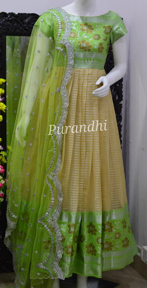 Neon Green with Silver. Beautiful Neon green color floor length dress with net dupatta. 2021-01-29